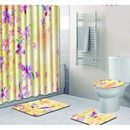 cheap Mats & Rugs-1 set Casual Bath Mats 100g / m2 Polyester Knit Stretch Floral Print Rectangle Bathroom Cute