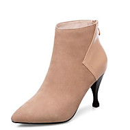 cheap -Women's Fashion Boots Sheepskin Winter Boots Stiletto Heel Closed Toe Booties / Ankle Boots Black / Nude