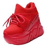 tanie Obuwie damskie-Damskie Komfortowe buty Siateczka / PU Jesień Sportowy Adidasy Creepersy Okrągły Toe Czarny / Czerwony