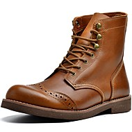 baratos Sapatos Masculinos-Homens Fashion Boots Pele Napa Inverno Esportivo / Vintage Botas Manter Quente Botas Cano Médio Preto / Café / Marron