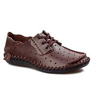 baratos Sapatos Masculinos-Homens Sapatos de couro Couro Primavera Verão Casual Oxfords Respirável Cinzento Escuro / Castanho Claro / Castanho Escuro