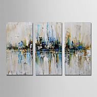 billiga Oljemålningar-Hang målad oljemålning HANDMÅLAD - Abstrakt Moderna Duk / Tre paneler