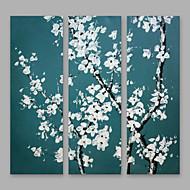 billiga Blom-/växtmålningar-Hang målad oljemålning HANDMÅLAD - Blommig / Botanisk Moderna Inkludera innerram / Tre paneler / Sträckt kanfas