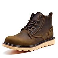 baratos Sapatos Masculinos-Homens Fashion Boots Pele Napa Inverno Clássico / Casual Botas Manter Quente Botas Curtas / Ankle Marron / Khaki