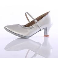 billige Kustomiserte dansesko-Dame Moderne sko Fuskelær Høye hæler Tvinning Kubansk hæl Kan spesialtilpasses Dansesko Sølv