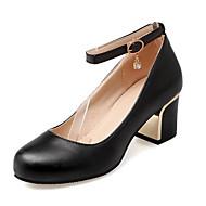 baratos Sapatos Femininos-Mulheres Stiletto Couro Primavera Saltos Salto de bloco Preto