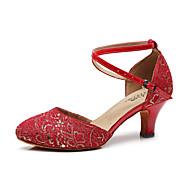 billige Kustomiserte dansesko-Dame Moderne sko Syntetisk Sandaler Paljett Slim High Heel Kan spesialtilpasses Dansesko Svart / Mørkerød / Lysegul