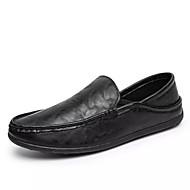 baratos Sapatos Masculinos-Homens Solas Claras Couro Ecológico Outono Casual Mocassins e Slip-Ons Respirável Preto / Azul Escuro / Marron