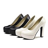 Pentru femei Pantofi Pumps PU Primăvară Tocuri Toc Îndesat Negru / Bej / Zilnic
