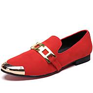 baratos Sapatos de Tamanho Pequeno-Homens Sapatos formais Pele Napa Primavera Formais Mocassins e Slip-Ons Não escorregar Preto / Vermelho