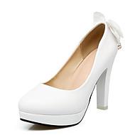 رخيصةأون -نسائي أحذية الراحة PU الربيع كعوب كعب ستيلتو أبيض / أسود / زهري / زفاف / مناسب للبس اليومي