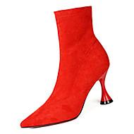 Mulheres Fashion Boots Couro Ecológico Inverno Casual Botas Salto Carretel Botas Cano Médio Preto / Roxo / Vermelho
