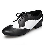 billiga Dansskor-Herr Moderna skor Läder Sneaker Tvinning Tjock häl Dansskor Svart / Vit