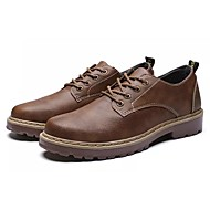 baratos Sapatos Masculinos-Homens Sapatos Confortáveis Couro Ecológico Outono Oxfords Preto / Cinzento / Marron
