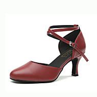 billige Moderne sko-Dame Moderne sko Nappa Lær Høye hæler Spenne Utsvingende hæl Dansesko Gull / Sølv / Mørkerød