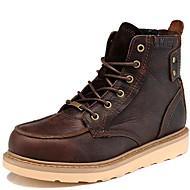 billige Herresko-Herre Fashion Boots Nappalæder Vinter Klassisk / Afslappet Støvler Hold Varm Støvletter Sort / Kaffe