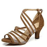 בגדי ריקוד נשים נעליים לטיניות עור פטנט עקבים שחבור עקב רחב נעלי ריקוד שחור / צהוב / אדום
