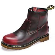 baratos Sapatos Femininos-Mulheres Fashion Boots Pele Inverno Clássico / Casual Botas Sem Salto Botas Cano Médio Preto / Marron / Vinho