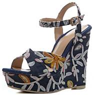 baratos Sapatos Femininos-Mulheres Sandálias Anabela Jeans Verão Sandálias Salto Plataforma Azul