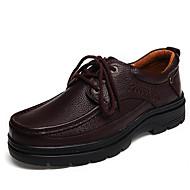 رجالي أحذية جلدية جلد الخريف عتيق / كاجوال أوكسفورد تدليك أسود / بني
