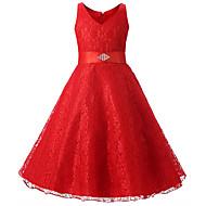 Dzieci Dla dziewczynek Aktywny Słodkie Impreza Święto Solidne kolory Nadruk Bez rękawów Do kolan Sukienka Fioletowy