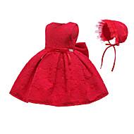 Baby Mädchen Aktiv / Grundlegend Weihnachten / Party / Geburtstag Solide Spitze Ärmellos Übers Knie Baumwolle / Polyester Kleid Hellgrün
