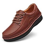 baratos Sapatos Masculinos-Homens Sapatos de couro Pele Napa Outono Clássico / Casual Oxfords Manter Quente Preto / Marron