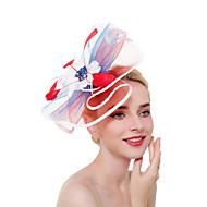 Hatte / Fascinator Hat Voksne Vintage / Halloween Alle Rosa / Hvid / Beige Tyl / Fjer Maskerade Bryllupsfest Cosplay Tilbehør Jul / Halloween / Karneval Kostumer