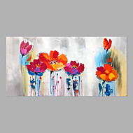cheap Rolled Canvas Paintings-Oil Painting Hand Painted - Abstract Floral / Botanical Modern Rolled Canvas