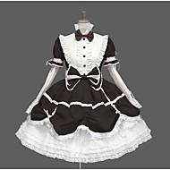 달콤한 로리타 캐주얼 로리타 드레스 스위트 로리타 우아함 레이스 여성용 드레스 코스프레 블랙 / 블루 / 핑크 퍼프 긴 소매 무릎 길이 의상