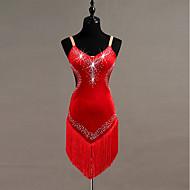 Latinské tance Šaty Dámské Trénink Plyš Třásně / Křišťály / Bižuterie Bez rukávů Vysoký Šaty