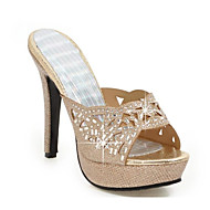 Žene PU Proljeće slatko / minimalizam Cipele na petu Stiletto potpetica Peep Toe Štras / Šljokice Zlato / Srebro