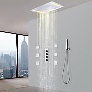 billige Rabatt Kraner-Dusjkran - Moderne Krom Keramisk Ventil Bath Shower Mixer Taps / Messing / Fire Håndtak fem hull