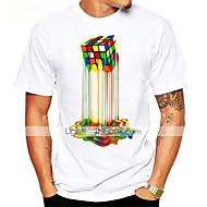 Tee-shirt Homme, Graphique - Coton Imprimé Sports Basique Col Arrondi Cubes Magiques Arc-en-ciel XL / Manches Courtes