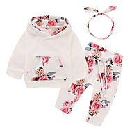 Baby Girls' Active / Basic Daily / Sports Print Long Sleeve Long Cotton / Polyester Clothing Set White / Toddler