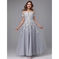 baratos -Linha A Decorado com Bijuteria Longo Tule Evento Formal Vestido com Apliques de TS Couture® / Baile de Formatura