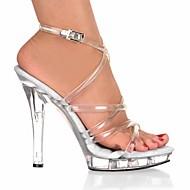 baratos Sapatos Femininos-Mulheres Sapatos PVC Verão / Outono Plataforma Básica / Tênis com LED / Sapatos clube Sandálias Salto Agulha / Heel translúcido / Salto
