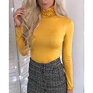 Dames Standaard / Street chic Ruche T-shirt Uitgaan Effen Coltrui Zwart M / Sexy