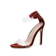baratos Sapatos Femininos-Mulheres PVC Verão Minimalismo Sandálias Salto Agulha Dedo Aberto Vinho