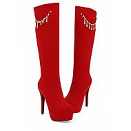 baratos Sapatos Femininos-Mulheres Cetim Outono Botas Salto Agulha Dedo Fechado Botas Cano Alto Preto / Vermelho
