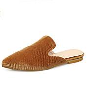 baratos Sapatos Femininos-Mulheres Couro Ecológico Primavera & Outono Vintage Tamancos e Mules Sem Salto Dedo Apontado Preto / Marron