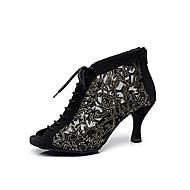 billige Sko til latindans-Dame Moderne sko / Ballett Syntetisk Støvler Snøring Stiletthæl Kan spesialtilpasses Dansesko Svart / Lær