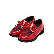 baratos Sapatos de Menina-Para Meninas Sapatos Couro Ecológico Primavera & Outono Conforto Mocassins e Slip-Ons Flor para Infantil / Adolescente Preto / Marron / Vermelho