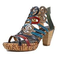 baratos Sapatos Femininos-Mulheres Pele Primavera Verão Vintage Sandálias Salto Robusto Dedo Aberto Botas Curtas / Ankle Black / azul / Estampa Colorida