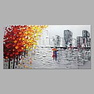 preiswerte -Hang-Ölgemälde Handgemalte - Abstrakt Landschaft Modern Ohne Innenrahmen / Gerollte Leinwand