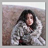 billiga Stilleben-Hang målad oljemålning HANDMÅLAD - Människor / Stilleben Moderna Inkludera innerram / Sträckt kanfas