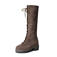 baratos Sapatos Femininos-Mulheres Camurça Outono & inverno Casual / Minimalismo Botas Sem Salto Dedo Fechado Botas Cano Alto Preto / Marron