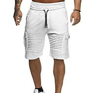 Homme Coton Short Pantalon - Couleur Pleine Vert