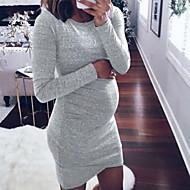Damen Elegant Hülle Kleid Solide Übers Knie