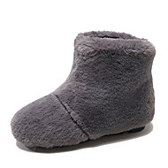 baratos Sapatos Femininos-Mulheres Couro Ecológico Inverno Casual Botas Salto Baixo Botas Cano Médio Preto / Bege / Cinzento